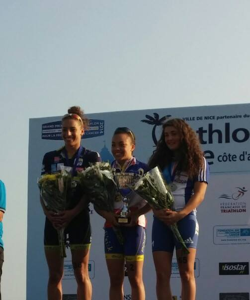 Margot sur le podium U23 championnat de FRANCE