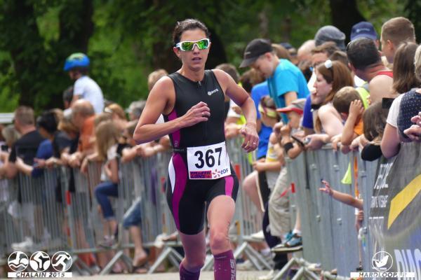 Christelle à l'arrivée de son premier triathlon de la saison