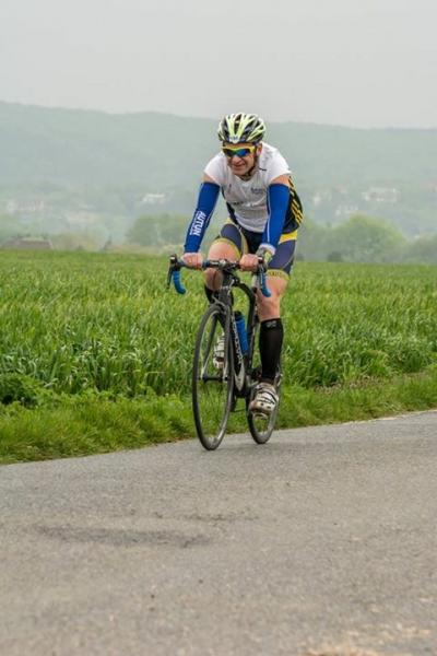 Olivier un peu frigorifié sur son vélo !!!!