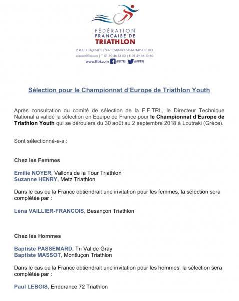 annonce sélection championnat d'Europe Youth 2018