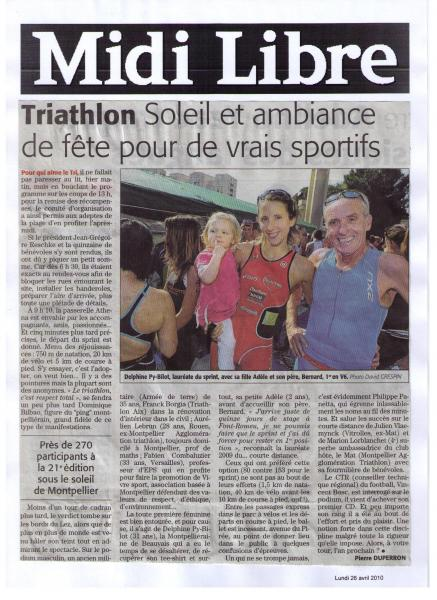Article  du Midi-Libre 26/04/2010