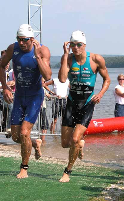 Sortie de l'eau aux Championnats de France