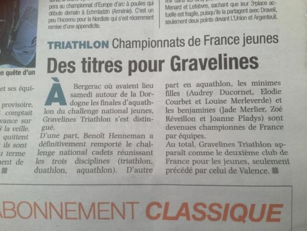 Aquathlon France article
