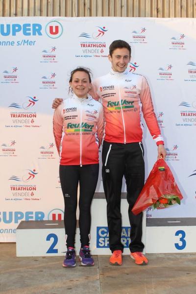 Emilie Leroux et Hugo Benoist, 2 de nos nouveaux champions de Vendée de duathlon