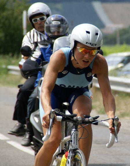 Christel sur la partie vélo