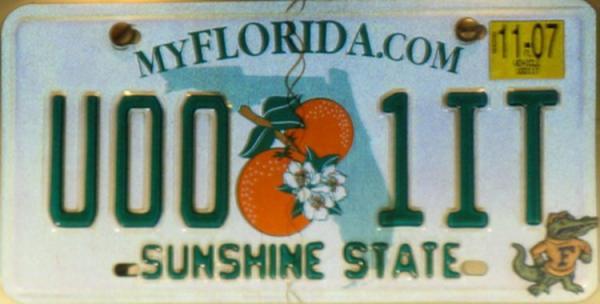 Plaque véhicule en Floride