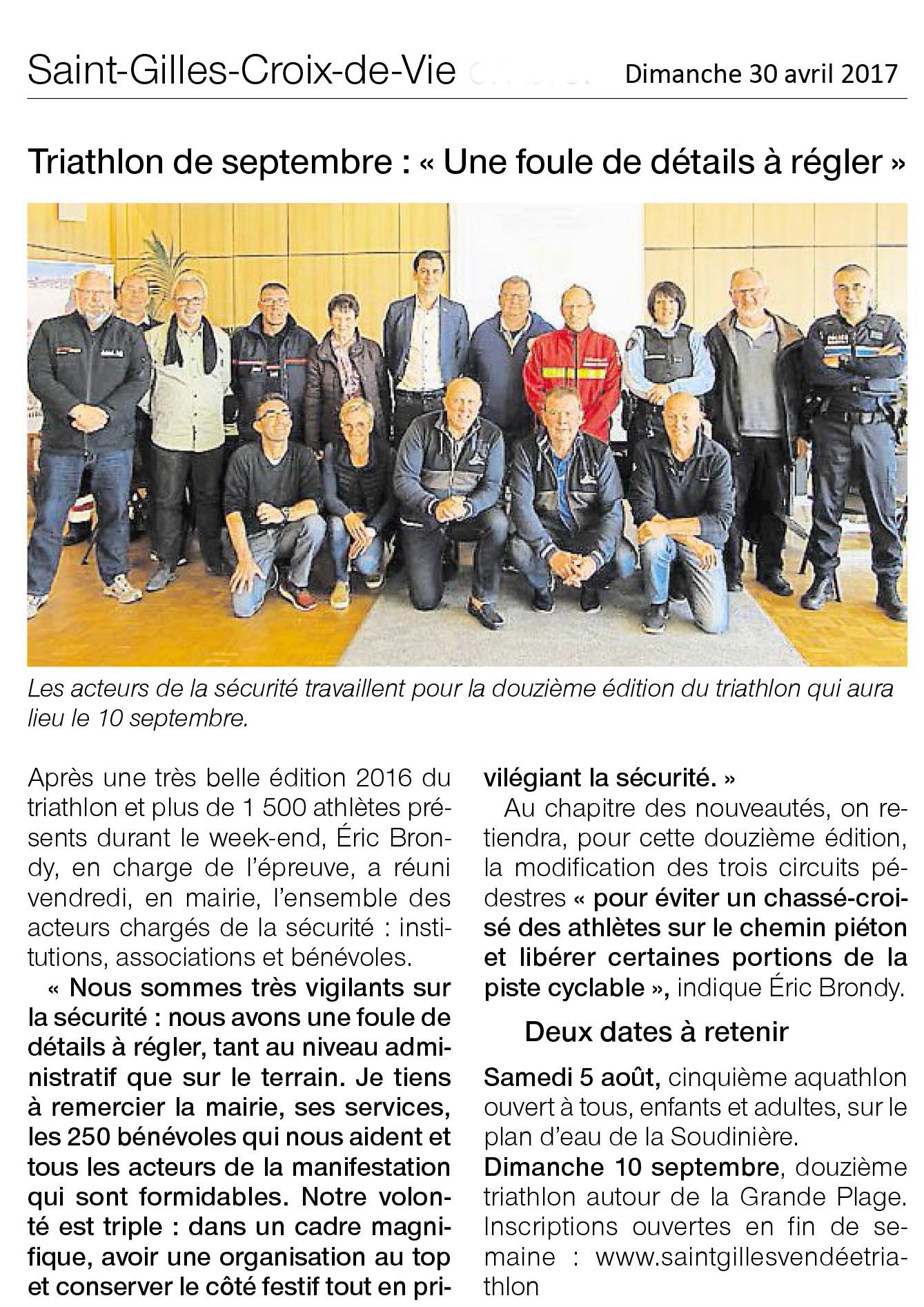 Réunion sécurité triathlon de Saint Gilles Croix de Vie 2017