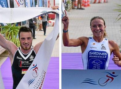 Les deux vainqueurs de l'épreuve en indivuel, Douglas Roberts (Girondins de Bordeaux) et Yuliya Yelistratova (Sardines de Marseille).