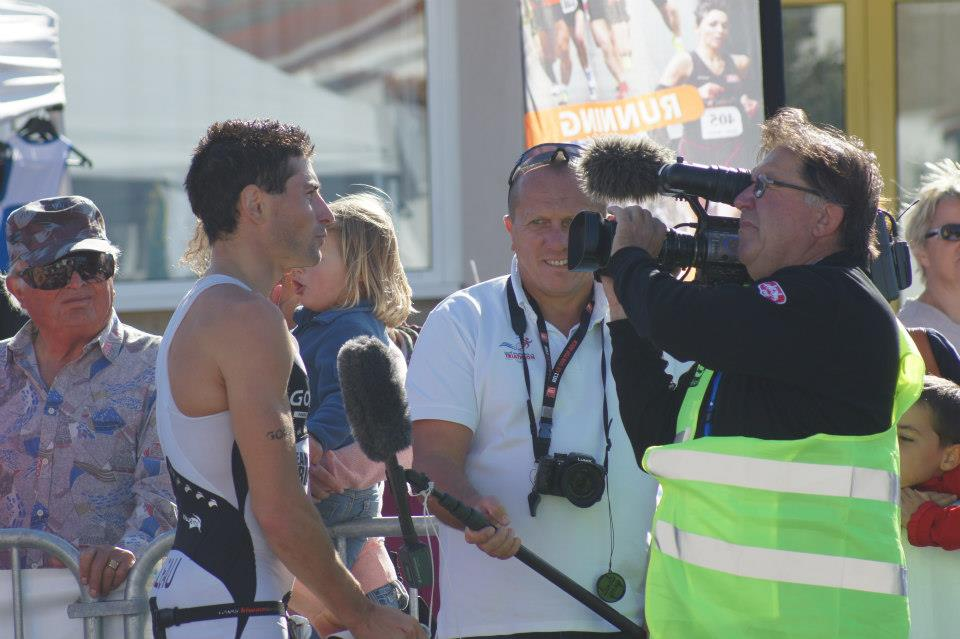 Interview at the Aiguillon short distance triathlon.