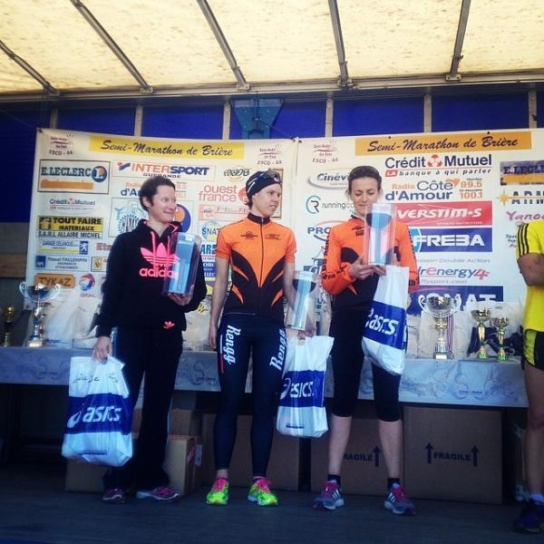 Laurianne et Lenaick sur le podium du 7,3km de la Briere