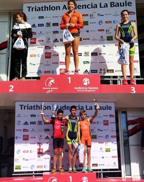Céline sur la 1ère marche du podium du format S ! et Elias 3ème chez les banjamins.