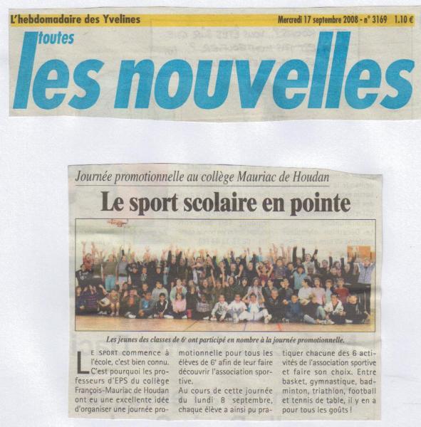 Article les Nouvelles rentrée 2008