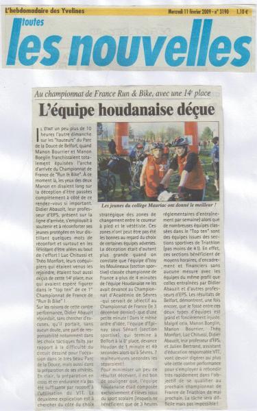 article les Nouvelles France Run & Bike 2008