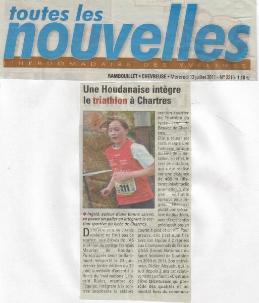 article Ingrid RIOLET Les Nouvelles du 13 juillet 2011