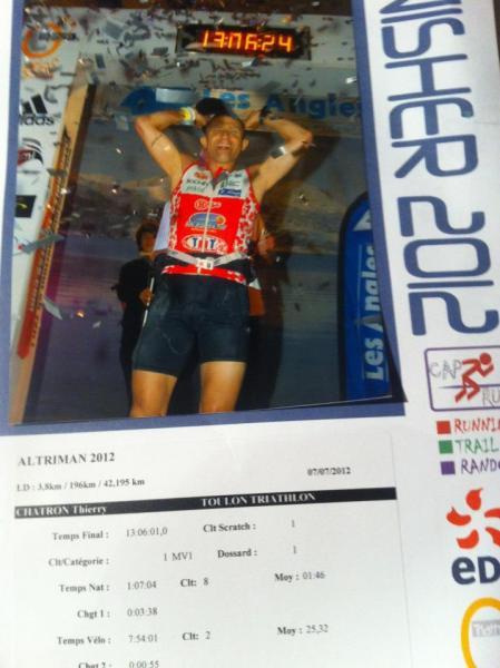 Thierry Chatron vainqueur de l'Altriman 2012