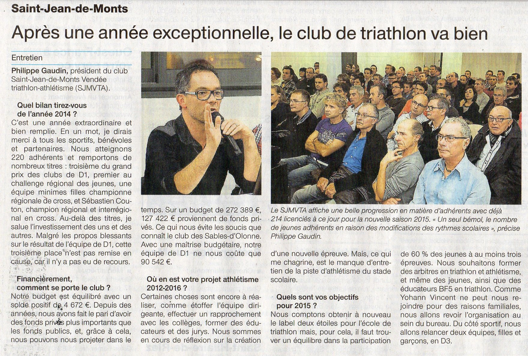 OUEST FRANCE 15-12-2014 SAINT JEAN DE MONTS TRIATHLON